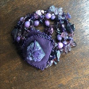 Jewelry - Suede Amethyst Beaded Bracelet